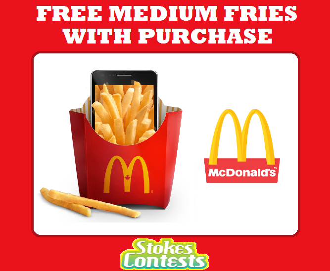 FREE Medium Fries with ANY Purchase at Mcdonald's! TODAY ONLY!!