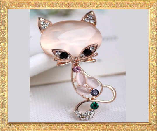 Win 1 of 7 Crystal & Rhinestone Cat Brooches