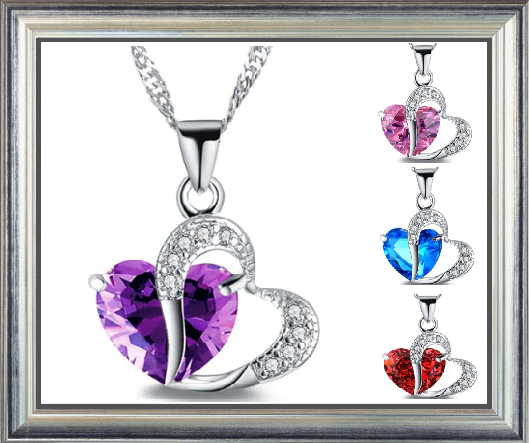 Win 1 of 7 CRYSTAL Heart Necklaces