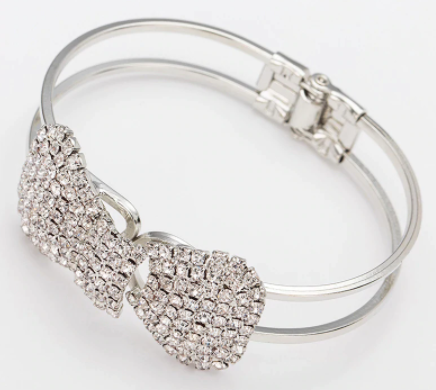 Win 1 of 4 SILVER Plated CRYSTAL Bow Bracelets