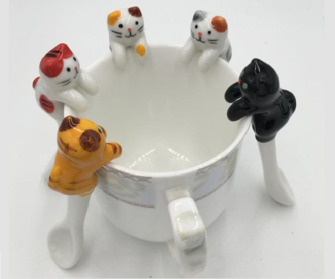 Win 1 of 4 Cat Ceramic Spoons