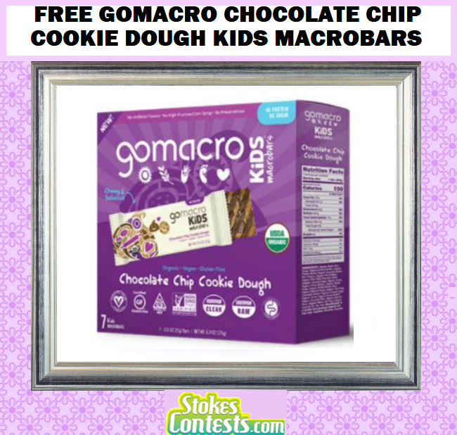 FREE GoMacro Chocolate Chip Cookie Dough Kids MacroBars, Coupons & Additional Products