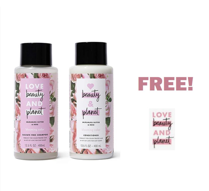 FREE Love Beauty & Planet Shampoo & Conditioner