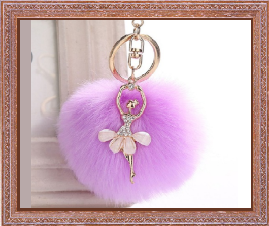 Win 1 of 7 CRYSTAL Ballerina and Fluffy Ball Keychains